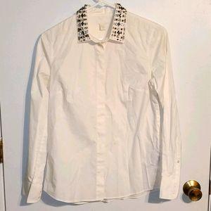 J. Crew collection white button down shirt